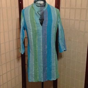 KIM RIGERS BEACH SIZE MEDIUM COVER UP 3/4 SLEEVES
